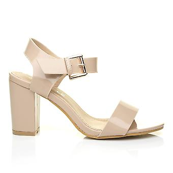 CARRIE Nude Patent PU Leather High Block Heel Peep Toe Ankle Strap Party Sandals