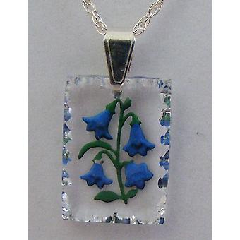 Bluebell hand painted rectangular crystal pendant
