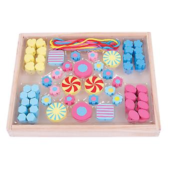 Bigjigs Toys Colourful Wooden Candy Bead Box Threating Lacing Arts Crafts Kids