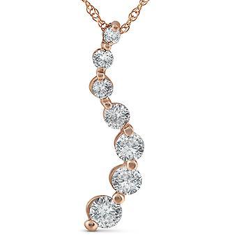 1 ct TDW Diamond podróż wisiorek 14k złota róża