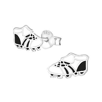 Football Boots - 925 Sterling Silver Colourful Ear Studs - W21957X