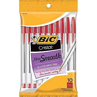 BIC Cristal Xtra Smooth Pens 10/Pkg-Red