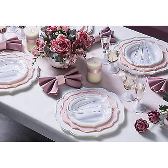 Party tableware romantic set for 6 guests 81-teilig party package Pink White party package