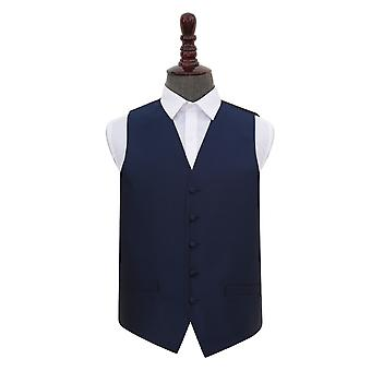 Navy Blue Solid Check Wedding Waistcoat