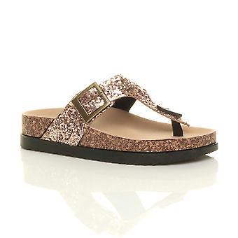 Ajvani womens flat flatform buckle strappy slides t-bar platform glitter sparkly sliders sandals flip flops