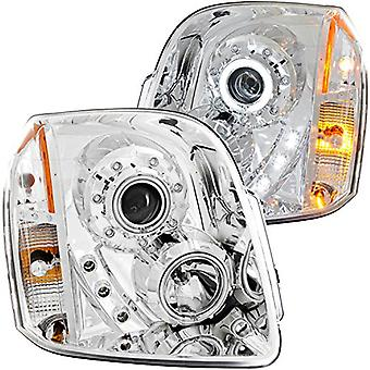 Anzo USA 111147 GMC Yukon Projector Halo Chrome Clear Amber Headlight Assembly - (Sold in Pairs)