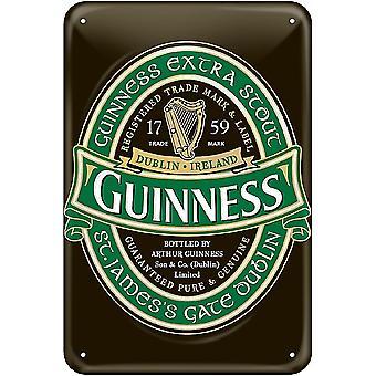 Guinness Green Label métal en relief signer 300 X 200 Mm