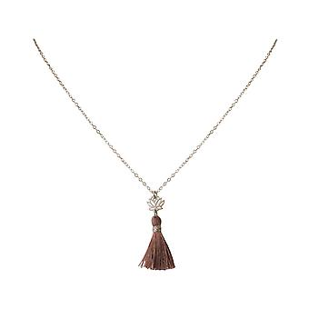 Gemshine - Damen - Halskette - Anhänger - 925 Silber - Lotus Blume - Quaste - Rose - YOGA - 4 cm