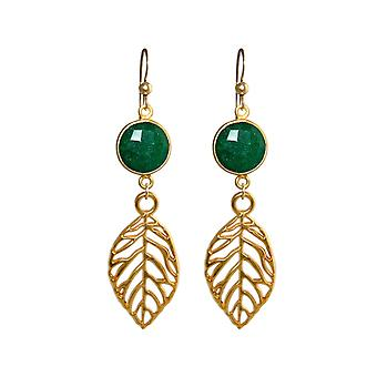 GEMSHINE earrings with emeralds, leaves. Earrings 925 silver, gold plated, rose