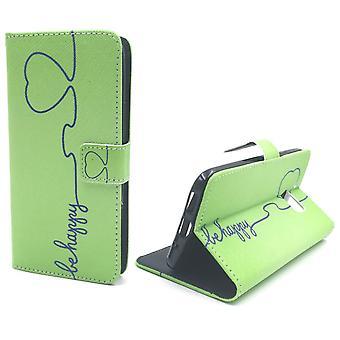 Handyhülle Tasche für Handy HTC 10 Be Happy Grün