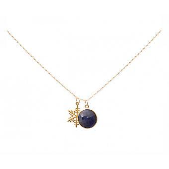 Halskette - Anhänger – SCHNEEFLOCKE - Silber Vergoldet - Saphir - Blau – 45 cm