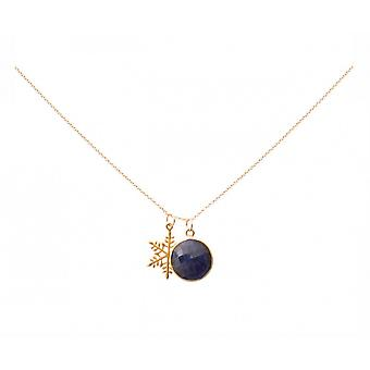 Necklace - pendants - snowflake - silver plated - sapphire - blue - 45 cm