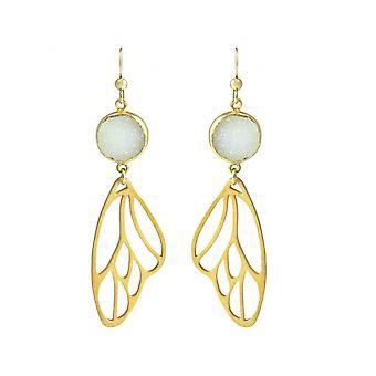 Ladies - earrings - butterfly - wings - WINGS - 925 Silver - gold plated-- DRUZY - white - quartz - 6.5 cm
