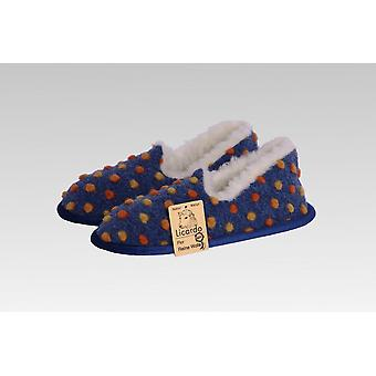 Moccasin wool dots blue 40/41