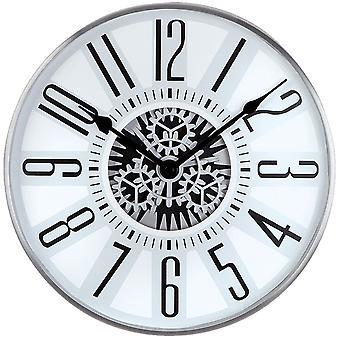 Атланта 4440 настенные часы кварцевые аналоговые серебристо-серый с скелет видимой маски