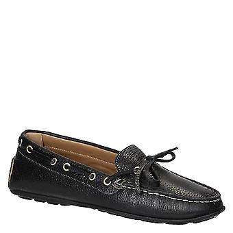 Women's driving moccasins black full grain leather