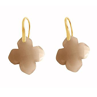 Ladies earrings 925 Silver gold plated agate grey GEM 2.5 cm