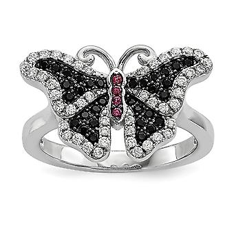 Sterling Silver Pave Black Rhodium-plated and Cubic Zirconia Brilliant Embers Butterfly Ring - Ring Size: 6 to 8