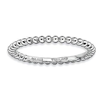 Sterling sølv poleret mønstrede Rhodium-belagt stabelbare udtryk Rhodium Ring - ringstørrelse: 5-10