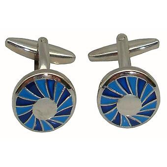 Bassin and Brown Spiral Concentric Cufflinks - Blue/Silver