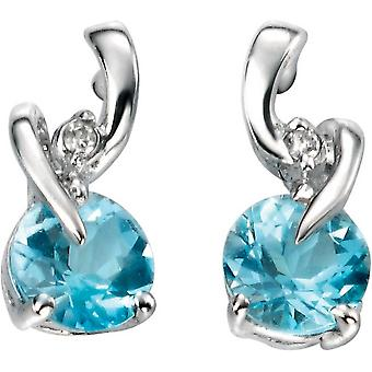 Elements Gold Kaleidoscope 9ct White Gold Topaz and Diamond Small Stud Earrings - Blue/White Gold