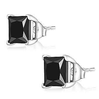 Øre Studs Øreringe 925 Sterling sølv, firkantede sorte sten, smykker | 3-8 mm