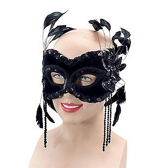 Black Velvet Mask & Feathers.