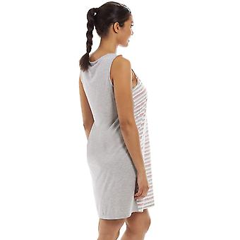 Camille Camille Womens Ladies Sleeveless Striped Florescent Chemise Nighty