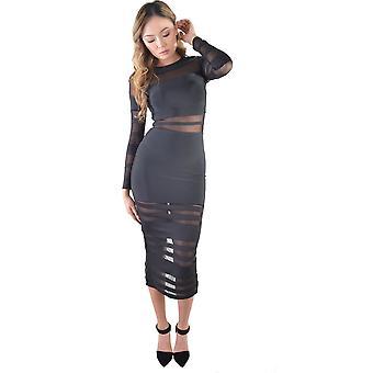 LMS Bodycon Maxi klänning med Mesh band i svart