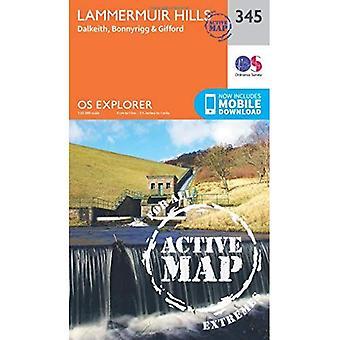 OS Explorer mapa ativo (345) Lammermuir Hills (Explorer OS mapa ativo)