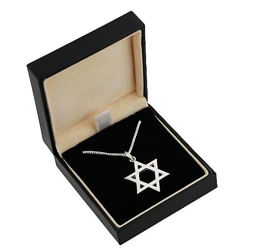 Silver 23mm plain Star of David with Curb chain