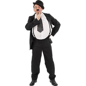 Mens Oliver Hardy Suit Suspenders Silent Movie Mime 30s 40s Fancy Dress Costume