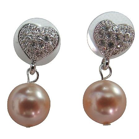 Heart Surgical Post Earrings Peach Pearl
