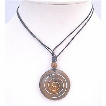 Round Wooden Pendant Necklace Black Cord Necklace Ethnic Jewelry