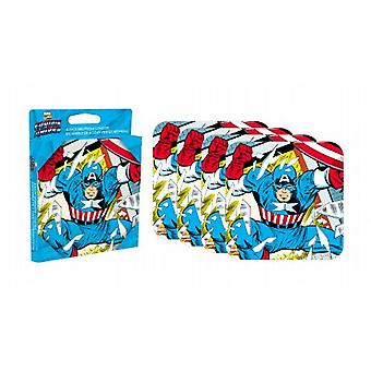 Captain America set of 4 neoprene drinks coasters    (nm)