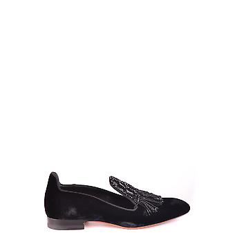 Santoni Black Suede Loafers