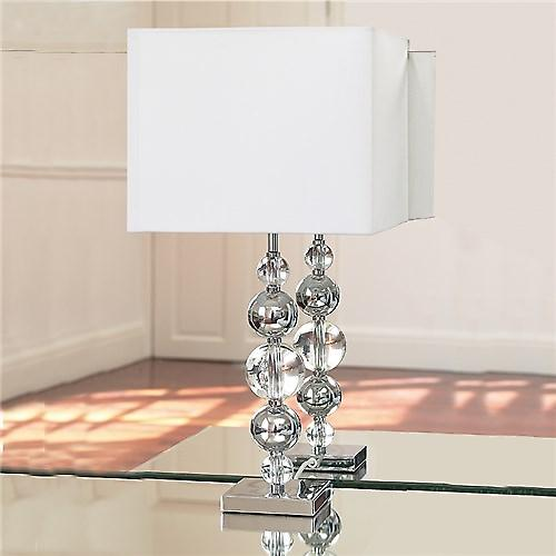 Endon SILVANER Silvaner Chrome And Glass Ball Table Lamp With White Box Silk Shade