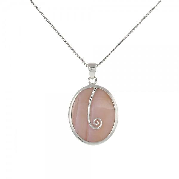 Cavendish French Sterling Silver and Pink Mother of Pearl Oval Pendant