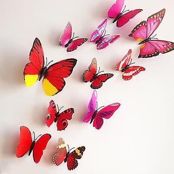 Väggdekor - 10 st Fjärilar - 3D - Cerise