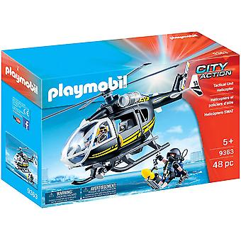 Playmobil 9363 City Action SWAT Helicopter Working Winch