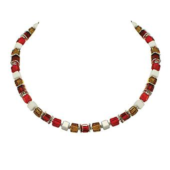 Eternal Collection Rimini Sunshine Orange Red And Light Topaz Crystal Cube Silver Tone Necklace