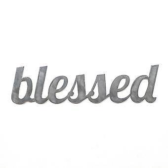 Blessed - metal cut sign 24x6in