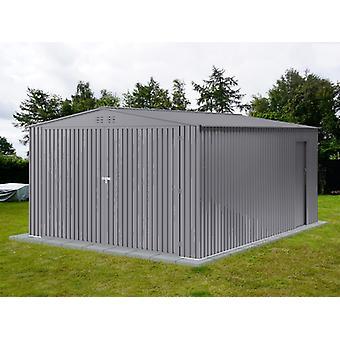 Metallgarage 3,8x4,8x2,32m Pro TelthalShed, Aluminium Grau