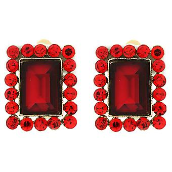 Clip On Earrings Store Gold  and  Siam Red Facet Rectangular Crystal Clip On Ear