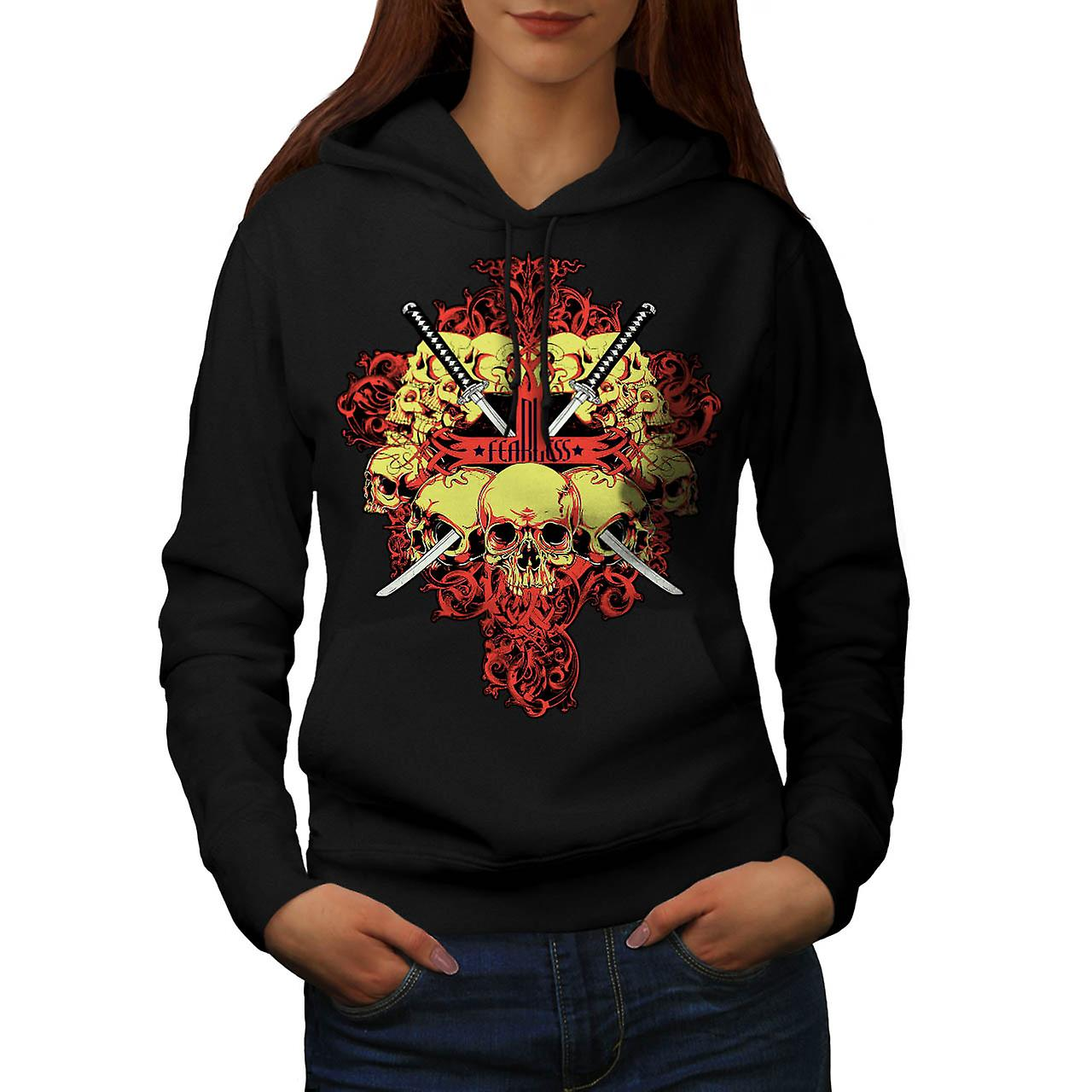 Fearless Rose Metal Skull Women Black Hoodie | Wellcoda