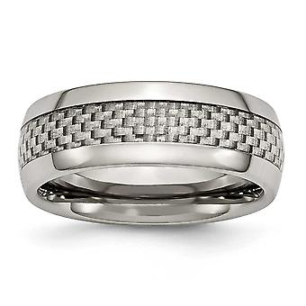 Titanium Engravable and Grey Carbon Fiber 8mm Polished Band Ring - Ring Size: 6 to 15