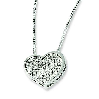 Sterling Silver Pave Spring Ring Rhodium-plated and Cubic Zirconia Brilliant Embers Heart Necklace - 18 Inch