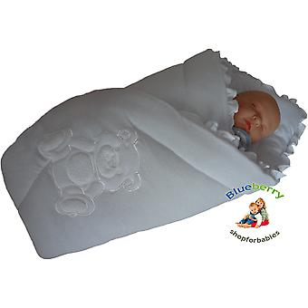 BlueberryShop Embroidered Jersey Swaddle Wrap Blanket Sleeping Bag for Newborn, baby shower GIFT 100% Cotton, 0-3m
