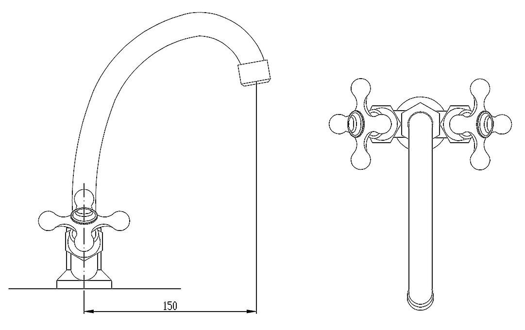 Traditional Cross Head Kitchen Sink Faucet Mono Tap Deck Mounted