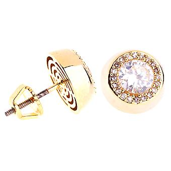 Iced Out Bling Micro Pave Ohrstecker - CENTER 10mm gold